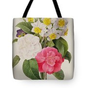 Camellias Narcissus And Pansies Tote Bag by Pierre Joseph Redoute