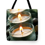 Candles On Green Tote Bag by Elena Elisseeva