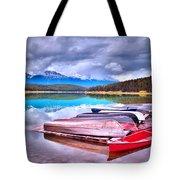 Canoes At Lake Patricia Tote Bag by Tara Turner