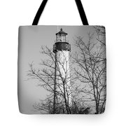 Cape May Light B/w Tote Bag by Jennifer Lyon
