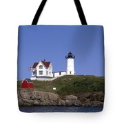 Cape Neddick Light Station In Maine Tote Bag by Mountain Dreams