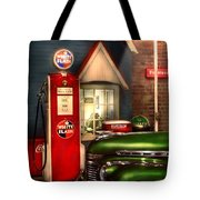 Car - Station - White Flash Gasoline Tote Bag by Mike Savad