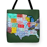 Car Tag Number Plate Art USA on Green Tote Bag by Design Turnpike