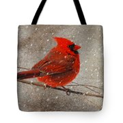 Cardinal In Snow Tote Bag by Lois Bryan