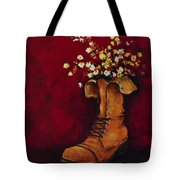 Cargo Boot Series Unusual Flower Pot Tote Bag by Patricia Awapara