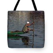 Cartoon - Man Plying A Wooden Boat On The Dal Lake Tote Bag by Ashish Agarwal