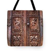 Carved wooden door at Bhaktapur in Nepal Tote Bag by Robert Preston