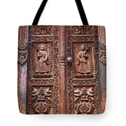 Carved Wooden Door At Bhaktapur In Nepal Tote Bag by Robert Preston