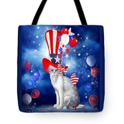 Cat In Patriotic Hat Tote Bag by Carol Cavalaris