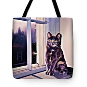 Cat On Window Sill Tote Bag by John Malone