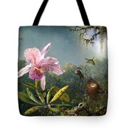 Cattleya Orchid And Three Brazilian Hummingbirds Tote Bag by Emile Munier