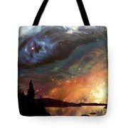 Celestial Northwest Tote Bag by Lucy West