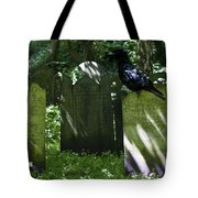 Cemetery With Ancient Gravestones And Black Crow  Tote Bag by Georgia Fowler