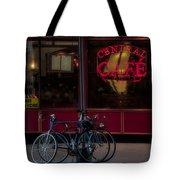 Central Cafe Bicycles Tote Bag by Susan Candelario