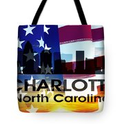 Charlotte Nc Patriotic Large Cityscape Tote Bag by Angelina Vick