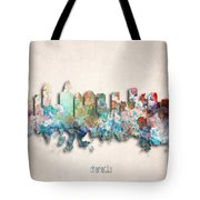 Charlotte Painted City Skyline Tote Bag by World Art Prints And Designs