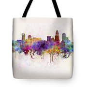 Charlotte Skyline In Watercolor Background Tote Bag by Pablo Romero