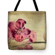 Cherry Blossom With Textures Tote Bag by John Edwards