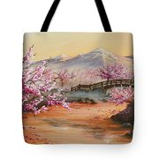 Cherry Blossoms In The Mist Tote Bag by Joe Mandrick
