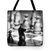 Chess Game in black and white Tote Bag by Paul Ward