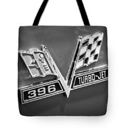 Chevy 396 Turbo-jet Emblem Black And White Picture Tote Bag by Paul Velgos