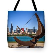 Chicago Adler Planetarium Sundial And Chicago Skyline Tote Bag by Paul Velgos
