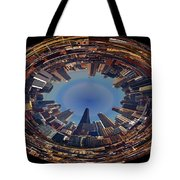 Chicago Looking East Polar View Tote Bag by Thomas Woolworth