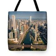 Chicago River Aloft Tote Bag by Steve Gadomski
