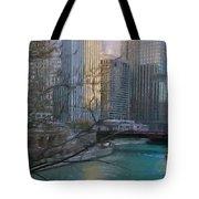 Chicago River Sunset Tote Bag by Jeff Kolker