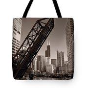 Chicago River Traffic BW Tote Bag by Steve Gadomski