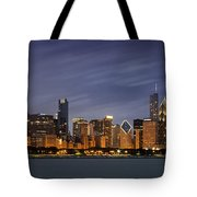 Chicago Skyline At Night Color Panoramic Tote Bag by Adam Romanowicz