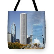 Chicago Skyline From Millenium Park Iv Tote Bag by Christine Till