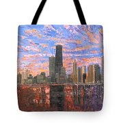 Chicago Skyline - Lake Michigan Tote Bag by Mike Rabe
