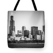 Chicago Skyline With Sears Tower In Black And White Tote Bag by Paul Velgos