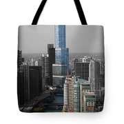 Chicago Trump Tower Blue Selective Coloring Tote Bag by Thomas Woolworth