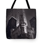 Chicago Water Tower Panorama B W Tote Bag by Steve Gadomski