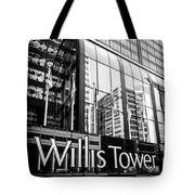 Chicago Willis Tower Sign in Black and White Tote Bag by Paul Velgos