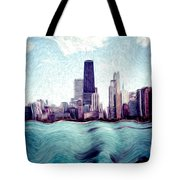 Chicago Windy City Digital Art Painting Tote Bag by Paul Velgos