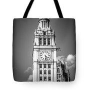 Chicago Wrigley Building Clock Black And White Picture Tote Bag by Paul Velgos