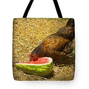 Chicken And Her Watermelon Tote Bag by Sandi OReilly