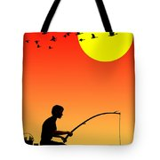 Childhood Dreams 3 Fishing Tote Bag by John Edwards