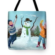 Children Playing In Snow Tote Bag by Martin Davey