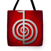 Cho Ku Rei - Silver On Red Reiki Usui Symbol Tote Bag by Cristina-Velina Ion