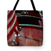 Chris Craft With Flag And Steering Wheel Tote Bag by Michelle Calkins