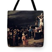 Christ On The Cross Tote Bag by Mihaly Munkacsy
