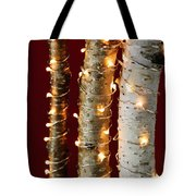 Christmas Lights On Birch Branches Tote Bag by Elena Elisseeva