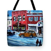 Christmas Shopping In Concord Center Tote Bag by Rita Brown