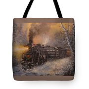 Christmas Train In Wisconsin Tote Bag by Tom Shropshire