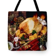 Christmas Turkey Dinner With Wine Tote Bag by The Irish Image Collection