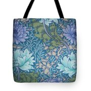 Chrysanthemums In Blue Tote Bag by William Morris